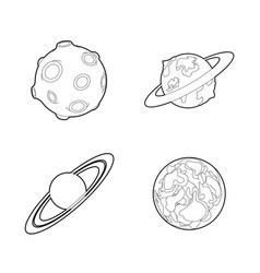 planet icon set outline style vector image