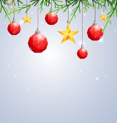 Polygonal red Christmas ball and star hanging vector image