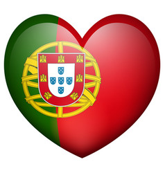 portugul flag in heart shape vector image vector image