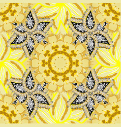 Seamless floral pattern in flowers on yellow vector