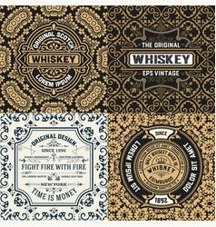 Set of four ornate vintage labels vector