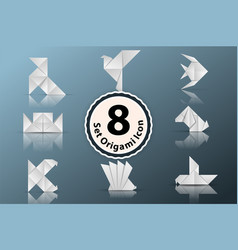 set paper origami icon vector image