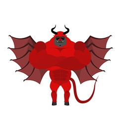 Strong satan red demon with horns and wearing vector