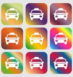 Taxi Icon sign Nine buttons with bright gradients vector image vector image