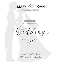 wedding invitation with bride and groom vector image vector image