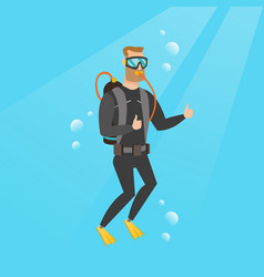young caucasian scuba diver giving thumb up vector image