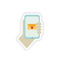 stylish paper sticker on white background romantic vector image