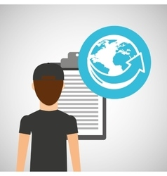 Man delivery checking worldwide service vector