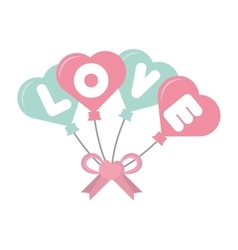 Love card hearts balloons hang with bow vector