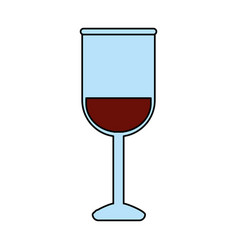 Color image glass cup with wine vector