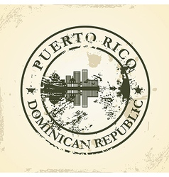 Grunge rubber stamp with puerto rico dominican vector