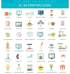 3D printing flat icon set Elegant style vector image vector image
