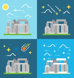 Flat design of stonehenge uk vector