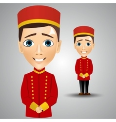 Young cute bellboy waiting for the client vector
