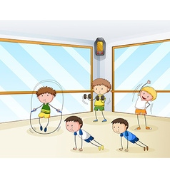 People exercising in the gym vector