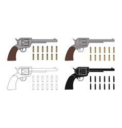 Set of six-gun revolvers with bullets game vector