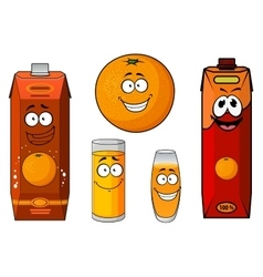 Cartoon fresh orange juice and fruit vector