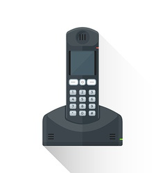 Flat style black landline wireless phone icon vector
