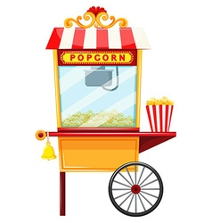 Popcorn vendor with wheel and bell vector