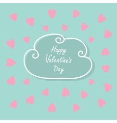 Happy valentines day love card cloud contour line vector