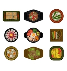 Dishes in plates top view set vector