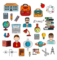 Teacher with pupils and school supplies sketch vector