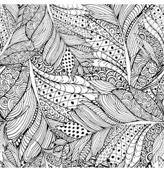 Coloring book page design with feather pattern vector