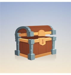 Empty wooden chest vector