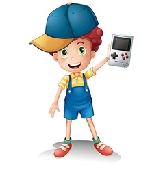 A boy holding a gameboy vector