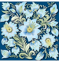 abstract vintage floral ornament on blue vector image