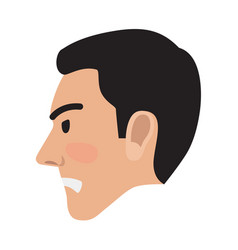 Angry man avatar user pic side head view vector