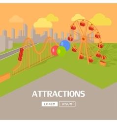Attractions in amusement park web banner vector