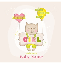 Baby Girl Cat with Balloons - Baby Shower Card vector image