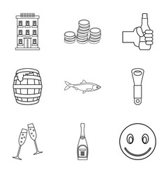 beer cellar icons set outline style vector image