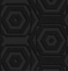 Black textured plastic striped hexagons vector image