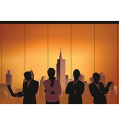 Business meeting with city vector image vector image