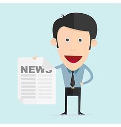 cartoon with newspaper in flat design vector image vector image