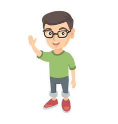 Caucasian little boy waving hand vector