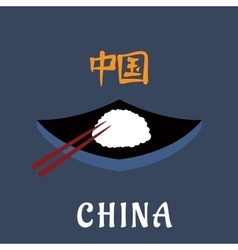 China cuisine symbol with rice and chopsticks vector image