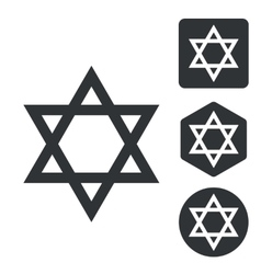 David star icon set monochrome vector