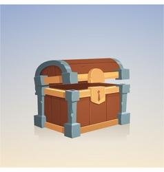Empty wooden chest vector