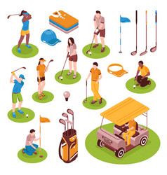 golf isometric icons set vector image