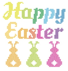 Happy Easter cross stitch pattern vector image vector image