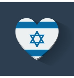 Heart-shaped icon with flag of Israel vector image