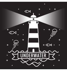Lighthouse on black background underwater vector