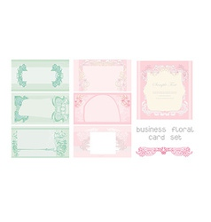 Pink and blue business floral card set vector