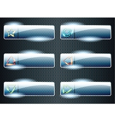 Rectangular transparent glass buttons vector image