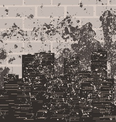 retro a city against a brick wall a vector image vector image