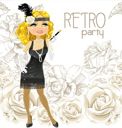 Retro glamour girl vector