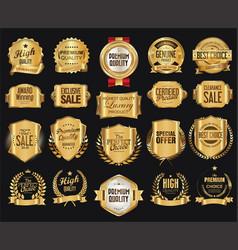 Retro golden badge collection 2 vector